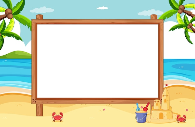 Blank wooden frame in beach scene