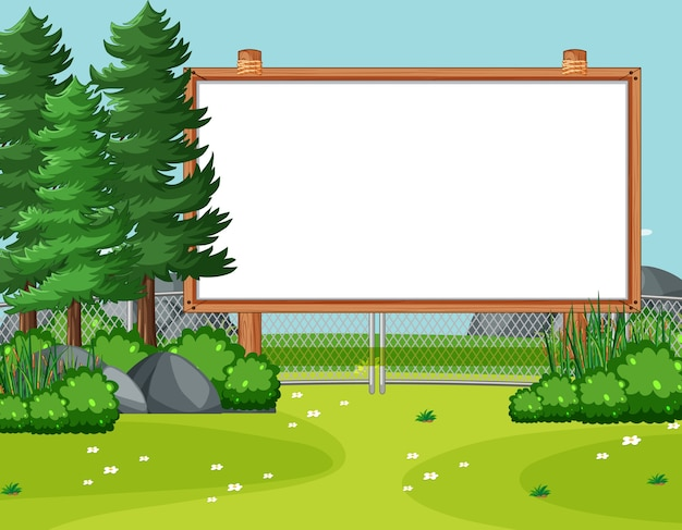 Blank wooden frame in nature park scene with pines