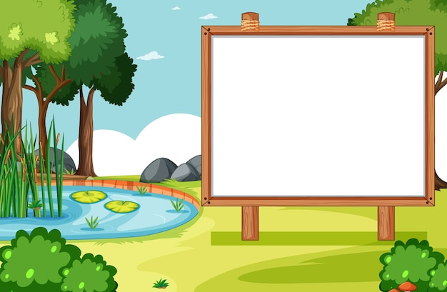 Blank wooden frame in nature park scene with swamp side