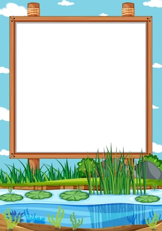 Blank wooden frame in nature park scene with swamp