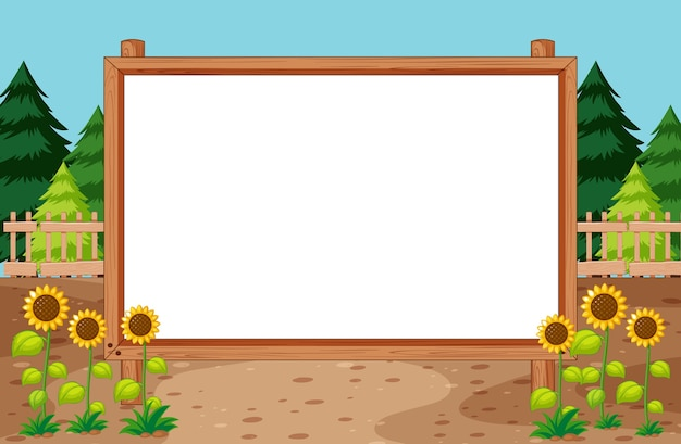 Blank wooden frame in nature park with sunflower scene