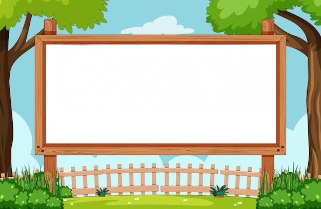 Blank wooden frame in nature scene