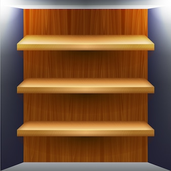 Blank wooden shelves for products