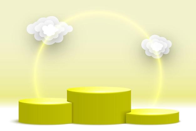 雲の台座製品ディスプレイプラットフォーム展示スタンドと空白の黄色の表彰台
