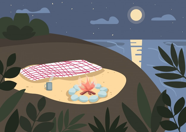 Blanket and bonfire on seashore  color  illustration. picnic on beach at night. summer camping, holiday on nature. evening seacoast  cartoon landscape with moon light on background