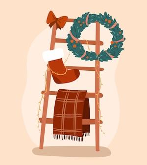 Одеяло-лестница, украшенная рождественскими элементами изолированный объект интерьера праздничного дома