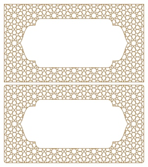Blanks for business cards. arabic geometric ornament.proportion 90x50.