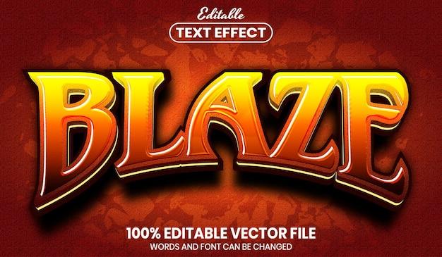 Blaze text, font style editable text effect