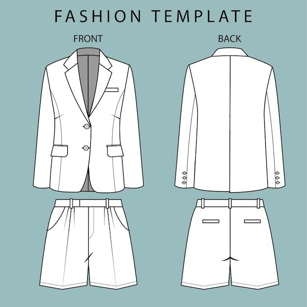 ブレザーとパンツの正面図と背面図。オフィスウェアの服。ファッションフラットスケッチテンプレート