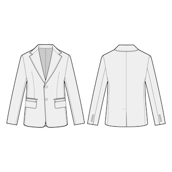 Blazer outer fashion flats template