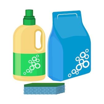 Бутылка отбеливателя с губкой, упаковка стирального порошка, моющее средство, водорастворимое очищающее средство.