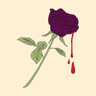 Bleeding purple rose sticker vector