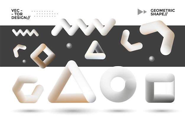 Набор смешанных геометрических фигур. современные элементы дизайна. векторная графика
