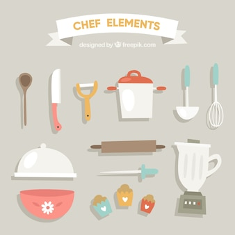Блендер и элементы кухни в плоском дизайне