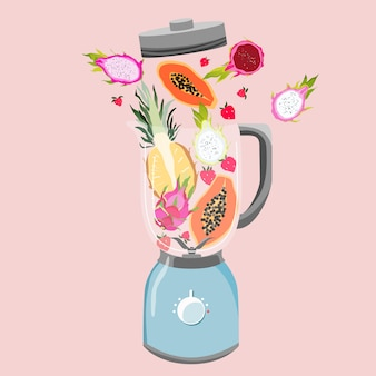 Blender filled with fruits. variety of tropical fruits in a mixer. healthy eating and fitness concept. smoothie preparation. trendy  illustration.