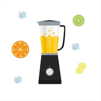 Blender for the kitchen. assorted fruits. vector flat design on white background.