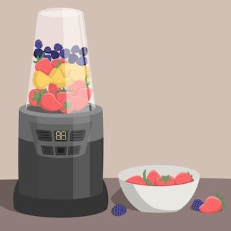 과일과 열매를 가진 믹서기 : 딸기, 파인애플 슬라이스, 블랙 베리. 건강한 식생활, 스무디.