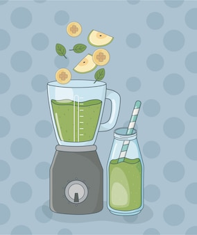 Blender with fruits and bottle healthy preparation