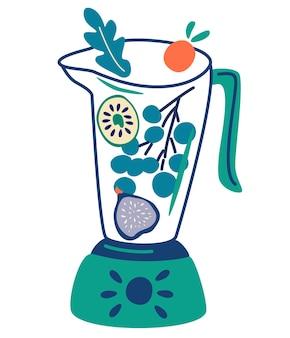 Блендер с фруктовыми смузи в блендерах и стеклянных банках с разными ингредиентами