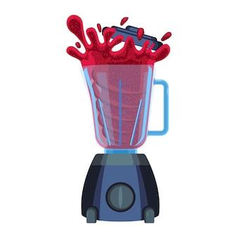 チェリーまたはストロベリージュースの赤いスプラッシュとブレンダー。電気機器の助けを借りて食品をブレンドする