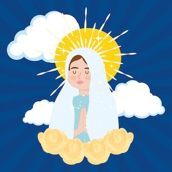 黄色いバラと祝福された聖母マリアのイラスト
