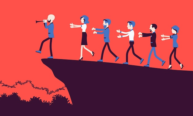 Blind faith followers moving to danger. group of people come after a person with a flute, subgroup of a religious encharmed with tales, unreasoned belief. vector illustration, faceless characters