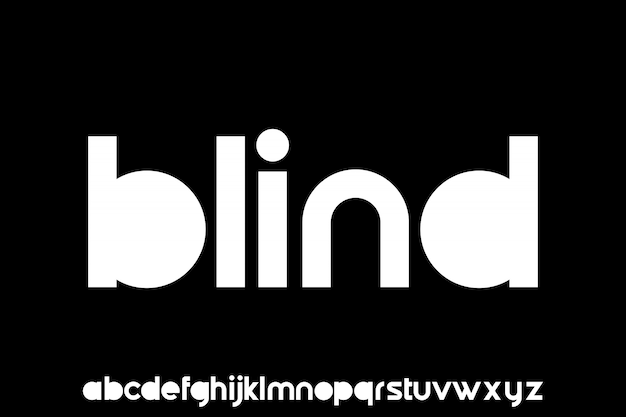 Blind, geometric sans serif modern lowercase font alphabetical   set