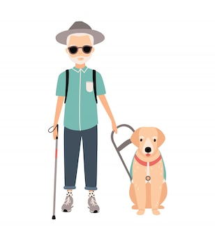 Blind man. colorful image featuring visually impaired elderly with guide dog on white background. flat   cartoon illustration.