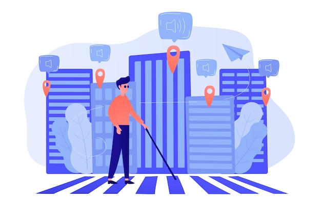 A blind man crossing the street with smart tags and voice notifications around. barrier-free convenient environment as iot and smart city concept. vector illustration