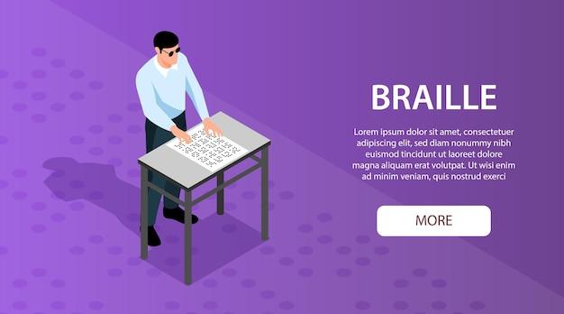 Uomo cieco che legge braille attraverso il modello di banner orizzontale isometrico di tocco