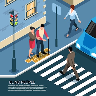 Blind man on tactile tiles assisted by pedestrian ready to cross busy street isometric composition