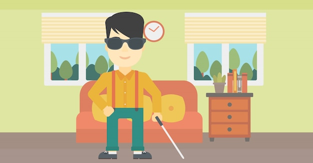 スティックのベクトル図と盲目の男。