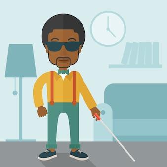 棒で盲目の男。
