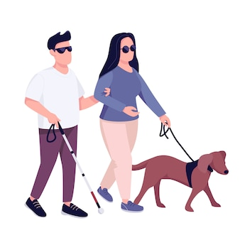 Blind man and woman with guide dog flat color faceless character. young couple with eyesight problem walking together isolated cartoon illustration for web graphic design and animation