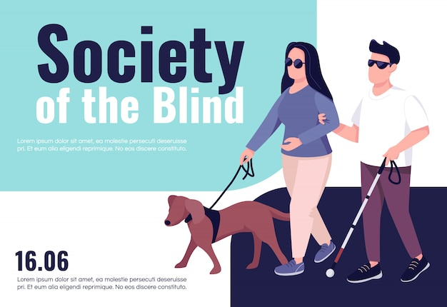 Blind people inclusion banner flat template. brochure, poster concept design with cartoon characters. people with eyesight problem support horizontal flyer, leaflet with place for text