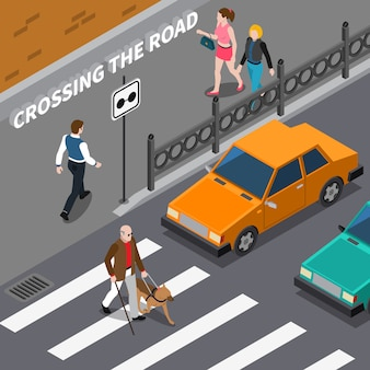 Blind person on crosswalk isometric illustration