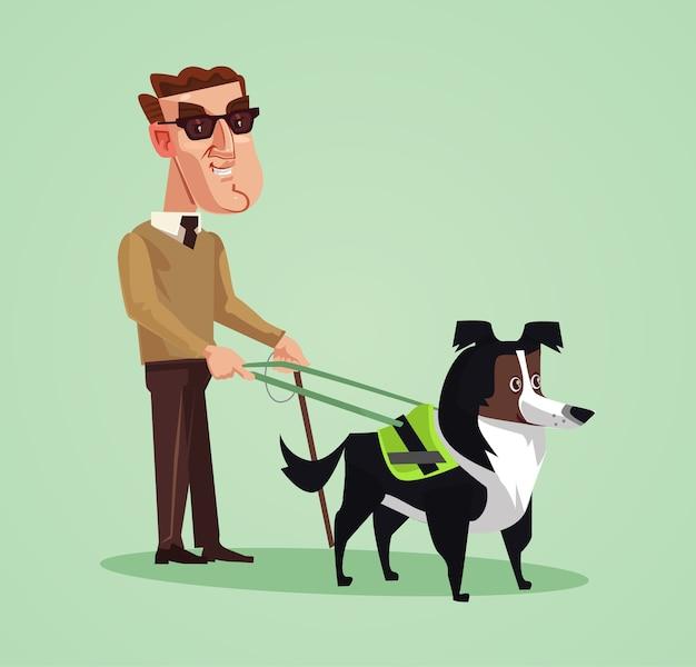 Слепой человек персонаж и собака-поводырь. иллюстрации шаржа