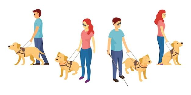 Слепой с собакой-поводырем и тростью