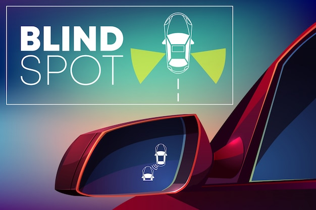 Blind spot assist cartoon concept. danger warning alert visual signal icon