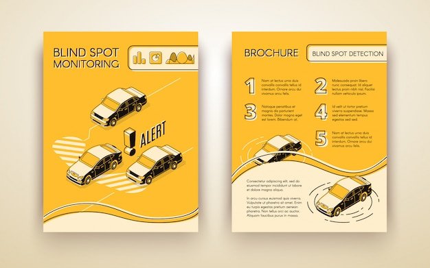 Blind spot monitoring assistance system brochure or flyer template with cars