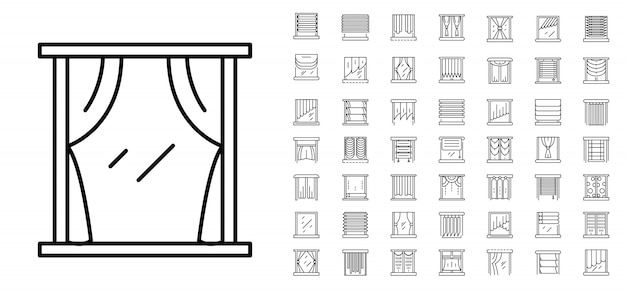Blind window icon set. outline set of blind window vector icons
