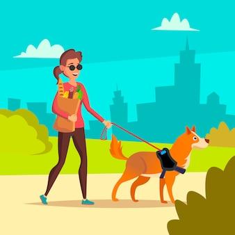 盲目の女性のベクトル。ペットの犬の同伴者を助ける若い人。障害者社会化の概念横断歩道で盲目の女性と盲導犬。漫画のキャラクターのイラスト