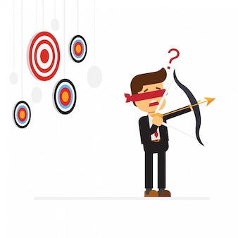 Blindfold businessman holding bow look for target in wrong