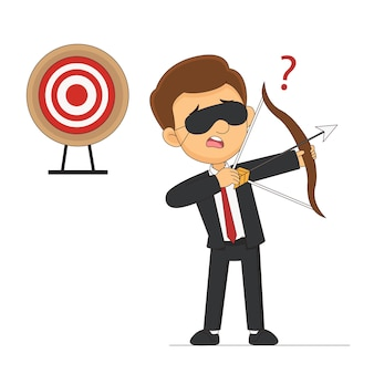 Blindfold businessman holding bow looking for target in wrong direction