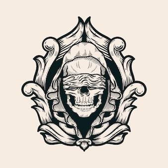 Капюшон с завязанными глазами череп с барокко рисованной иллюстрации