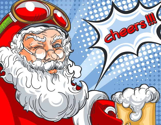 Blinking santa claus in helmet and with a glass of beer talking cheers in comic style drawing.