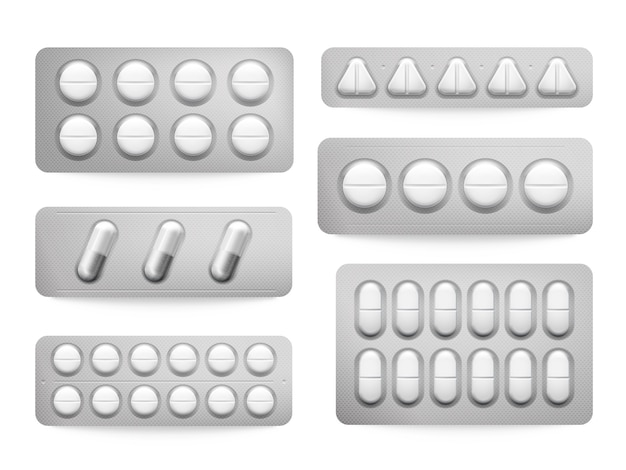 Blister 3d packs white paracetamol pills, aspirin capsules, antibiotics or painkiller drugs sign.
