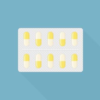 錠剤、カプセル、錠剤のブリスター。癒しのための医薬品