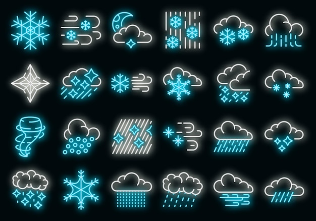Blizzard icons set. outline set of blizzard vector icons neon color on black