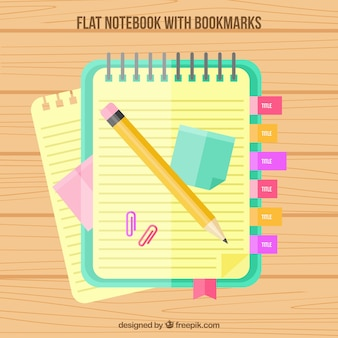 Bloc with bookmarks and pencil